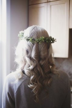 bride wore flower crowns, made by friends with flowers bought in bulk at local markets