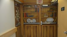 An exit is disguised as a bookshelf so that residents at Sudbury's Finlandia nursing home feel less confined.