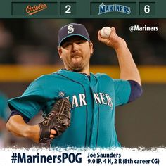 Joe Saunders tosses complete game, Michael Saunders smacks a HR in 6-2 #Mariners win over Orioles. 4/29/13