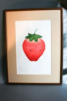 Illustration originale  Fraise  Crayons & aquarelle par MadameRhubarbe, €110.00