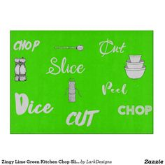 Zingy Lime Green Kitchen Chop Slice Dice Cutting Boards Lime Green Kitchen, Green Kitchen Decor, Kitchen Ideas, Glass Cutting Board, Cutting Boards, Dice, Kitchen Gadgets, Kitchens, Coffee