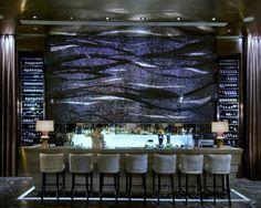 back lit, wine display, mosaic, blue, black, bar, wave, line, bartender, modern, bar stool,