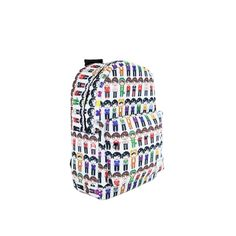Pixel People Backpack (£25) via Polyvore featuring bags, backpacks, white backpack, white bag, day pack rucksack, rucksack bags and polyester backpack