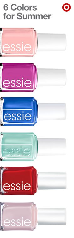 These fab nail polish colors from Essie have summer written all over them. Find all six and turn up the heat. From top to bottom: Groove is in the Heart, Coacha'bella, Butler Please, Mint Candy Apple, Forever Yummy and Mademoiselle.