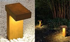 10 Easy Pieces: Pathway Lighting The Rusty Outdoor Path Light is made of Cor-ten cast steel and is extremely weather proof. The light is provided by a low-voltage fluorescen. Garden Path Lighting, Outdoor Path Lighting, Outdoor Decor, Lighting Ideas, Rope Lighting, Low Voltage Outdoor Lighting, Driveway Lighting, Outdoor Walkway, Bollard Lighting