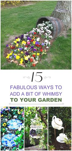 how to add whimsy to your garden to take away the boring blahs, and to make your garden a place people want to come back to!Learn how to add whimsy to your garden to take away the boring blahs, and to make your garden a place people want to come back to! Garden Crafts, Garden Projects, Garden Art, Diy Projects, Tree Garden, Garden Angels, Garden Ponds, Container Gardening, Gardening Tips