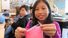 Students learn to knit to give Syrian refugees warm welcome