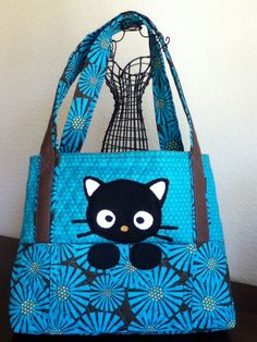 Black Kitty Cat Quilted Bag by WonderfulWonderWorld on Etsy