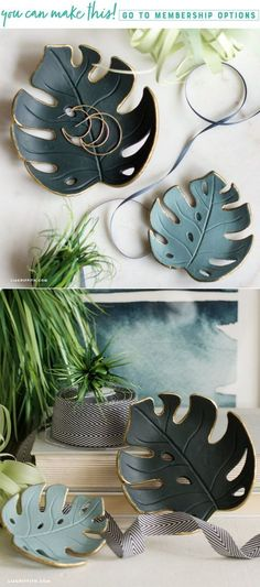 Make a simple DIY monstera drop dish for your home - Lia Griffith - www.liagriffith.com #clay #diyclay #diydecor #diyhomedecor #diyidea #diyideas #diyproject #diyprojects #madewithlia