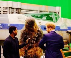 Harry was introduced to Chewbacca by Star Wars newcomer John Boyega, from Peckham, south east London, who plays Finn, a reformed Stormtrooper John Boyega, Prince Henry, British Monarchy, Chewbacca, East London, Star Wars, Husband, April 19, Couple Photos