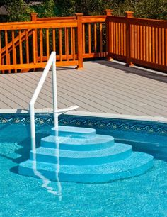 Exterior: Antique Adjustable Above Ground Pool Steps from Above Ground Pool Steps For Swimming Pool Above Ground Pool Stairs, Best Above Ground Pool, Above Ground Swimming Pools, In Ground Pools, Above Ground Pool Lights, My Pool, Swimming Pools Backyard, Swimming Pool Designs, Pool Steps Inground