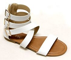 adf4f545c Anna Womens open toe crossing buckled high top ankle straps PU sandals  White 8     Check out this great product.