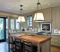 Sage green kitchen cabinets, mixed materials ...   Kitchy Kitchens