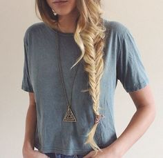 fishtail braid tumblr>>>sometimes I wish my hair was this long but it wouldn't be that straight