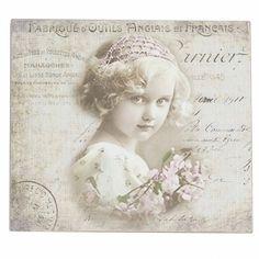 tableau motif fillette type carte postale - Campagne et Style