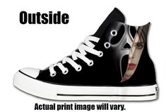 Arkham Prints provides a brand new custom pair of Scream Converse All Stars. These Shoes are printed with a High Quality Direct to Garment printer!