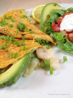 Summer Quesadilla De Marisco. Shrimp quesadilla. Stuffed with fresh avocado slices, shrimp, melted Havarti dill cheese and green chilies. Light, fresh and delicious!