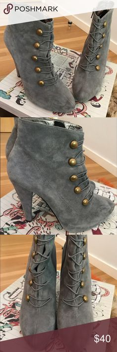 Jeffrey Campbell heeled booties Jeffrey Campbell Sargent Pepper Grey heeled booties. Suede with gold buttons. Size 10. Minimal wear. Jeffrey Campbell Shoes Heeled Boots
