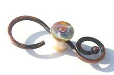 Rainbow Spiral Handmade lampwork glass bead and copper by Genea