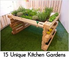 Hochbeet aus Europaletten ✔ Hochbeet selber bauen aus Paletten ✔ Inspiration… Raised beds made of Euro pallets ✔ Raised beds made of pallets ✔ Inspirations ✔ Guides ✔ Tips on construction ✔ DIY ideas ✔ Pallet furniture ✔ Garden ✔ Furniture ✔ Wooden Pallet Projects, Pallet Ideas, Garden Table, Garden Beds, Garden Path, Bbq Area Garden, Herbs Garden, Garden Oasis, Garden Bridge