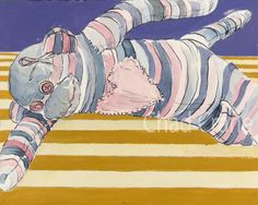 Original Painting  Sock Monkey Pink Stripes by MaddiesMinions