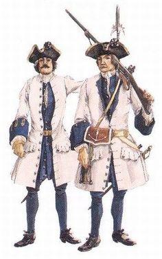 Sergent et soldat des Compagnies franches de la Marine de Nouvelle-France, entre 1716 et 1730