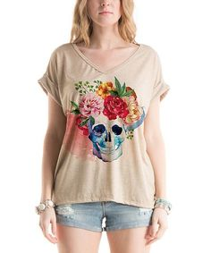Look what I found on #zulily! Oatmeal Skull & Roses Dolman Sleeve Tee #zulilyfinds