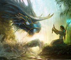 Un dragon y su guia