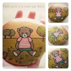 Galet peint pour petits galopins! Ourson °Fantin° , de la série °Mon Trésor° by Betty- : Peintures par les-petites-betty-s