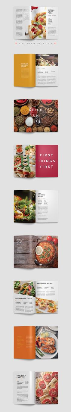 Modern Cookbook InDesign Template by Prixel Creative on Creative Market - Fiverr Outsource - Outsource your work on Fiverr and save your time. - Modern Cookbook InDesign Template by Prixel Creative on Creative Market Book Design Layout, Print Layout, Menu Design, Book Cover Design, Recipe Book Design, Cookbook Design, Layout Inspiration, Graphic Design Inspiration, Modern Cookbooks