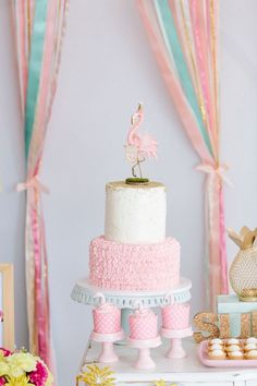 Flamingo cake from a Tropical Flamingo Party on Kara's Party Ideas… (Pink Mermaid Cake) Pink Flamingo Party, Flamingo Baby Shower, Flamingo Cake, Flamingo Birthday, Pink Flamingos, Flamingo Pool, Birthday Cake Girls, 4th Birthday Parties, Birthday Cakes
