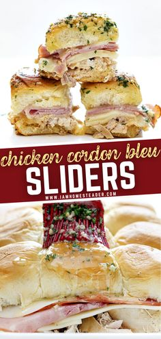Fancy some sliders? Gameday is the perfect time to bond with family or friends and you need an equally easy and delicious dish to stuff your stomachs while watching your favorite teams. This appetizer dish is loaded with cheese and meat, you can't just eat one! Pin this recipe! Chicken Ham, Chicken Sliders, Sliders Burger, Chicken Recipes, Recipe Chicken, Slider Recipes, Burger Recipes, Appetizer Dishes, Tasty Dishes