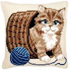 Cushion Panel - Kitten with Wool, You can make really special designs for textiles with cross stitch. Cross stitch designs may very nearly amaze you. Cross stitch novices will make the designs they need without difficulty. Cross Stitch Cushion, Cross Stitch Bird, Cross Stitch Animals, Cross Stitch Designs, Cross Stitch Patterns, Cross Stitch Pictures, Fathers Day Crafts, Stuffed Animal Patterns, Embroidery Kits