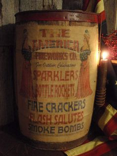 EARLY STAVE WOOD BARREL/KEG *UPCYCLED PATRIOTIC FIREWORKS GENERAL STORE PROP