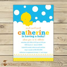 Rubber Ducky Baby Shower Custom Printable Invitation. $10.00, via Etsy.