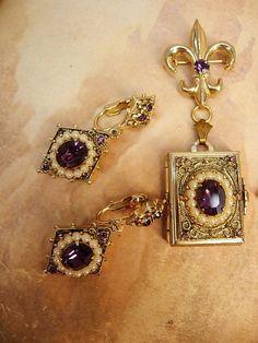 Vintage Coro Locket necklace brooch and amethyst earrings