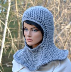Gray Hooded Cowl Squire Knight Elf Archer Hat Crocheted Adult Women Men Coif Faux Chain Mail