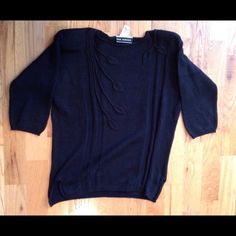 The Works Saks Fifth Avenue black sweater Black shoulder pad sweater 100% cotton, made in Italy. Beautiful design. In very good condition The Works Sweaters