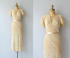 Vintage 1930s tea-stained cotton lace wedding dress with flutter sleeves, elevated bustline, elegant open back, bias cut lace and side snap closures.