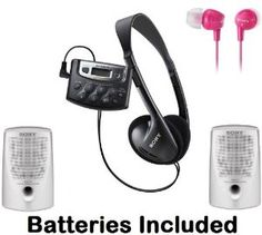 """Sony Walkman Digital Tuning Palm Size AM FM Stereo Radio with Weather Band, 20 Station Preset Memory, DX Switch for Exceptional Reception, Belt Clip, Over the Head Stereo Headphones, Hot Pink In-Ear Earbud Headphones & Passive Lightweight Portable Speakers - Batteries Included by Sony. $49.95. Weather Band Tuning FunctionLets you listen up-to-the-minute weather from your local weather band broadcasts.1 """"AAA"""" Battery OperationProvides hours of listening and helps to make the Walkm..."""