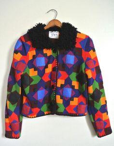 VTG Funky MICHAEL SIMON CARDIGAN Sweater - P S - Festive Patchwork Fuzzy  Collar  MichaelSimon  Cardigan d38f27db3