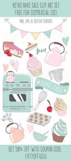 Get 50% off with the coupon code FIFTYOFF4SHU, bake sale clip art, baking illustration, retro teapot, retro stove, cupcakes, cupcake illustration