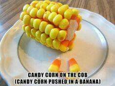 Halloween treat for kids. Candy corn on the cob. Candy corn stuck into a banana. For nut allergies, you can use Sunrise brand of candy corn, available at Dollar General and Big Lots, it is one of the few candy corns that is nut free. Halloween Snacks, Halloween Fun, Halloween Parties, Vintage Halloween, Halloween Pumpkins, Halloween Pretzels, Healthy Halloween, Halloween Decorations, Cute Food