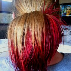 Kool-Aid hair dye: 3 packets of Kool-Aid dissolved in a coffee cup 3/4 full of boiling water & a splash of vinegar. Gather hair into a ponytail & dip ends for 10 minutes. Wa-la!
