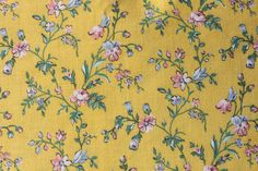 Pastel Summer Flowers on Yellow Fabric Small by binguspingusart, $7.50