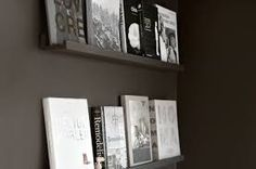 This deep charcoal wall and wall ledges make these books pop! The books are centre stage here Wall Colors, Colours, Wall Ledge, Charcoal Walls, Picture Ledge, Color Stories, Color Inspiration, Book Worms, Floating Shelves
