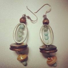 wood and turqoise earrings in apotticary's Garage Sale champaign, IL for $2.00. danglies with turquoise beads in a silver oval and wooden disks and a swirled bead at the bottom.