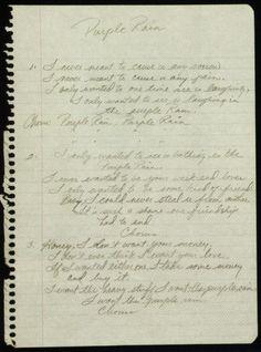 Prince's hand written lyrics to Purple Rain! ;)