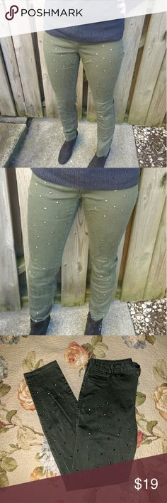 Green studded jeggings Cool studded green jeggings jeans. In pre-loved good condition. cello jeans Jeans Straight Leg