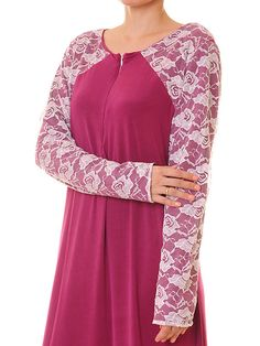 Floral Lace Front Zip Magenta Jersey Modest by Tailored2Modesty